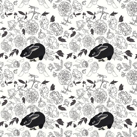 festive lineart peony blossom botanical pattern with bunny, black and white contrast, modern design. All over print. Perfect for wallpaper, stationary, event, wedding, fashion. Elegant florals.  イラスト・ベクター素材