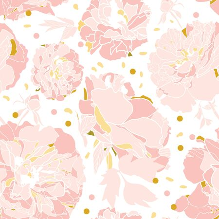 Vector white elegant botany realistic festive peony botanical pattern, peony blossom in dusty pink. All over print. For wedding, event, birthday and stationary.