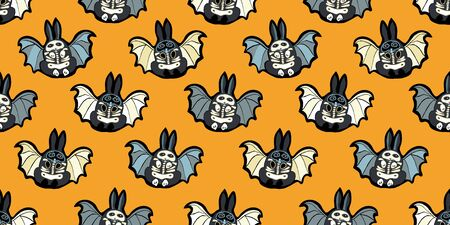 Seamless vector day of the dead comic style bat bunny pattern with hand drawn skeleton, masked bunny in black and orange. Funny and happy design for your perfect Halloween party.