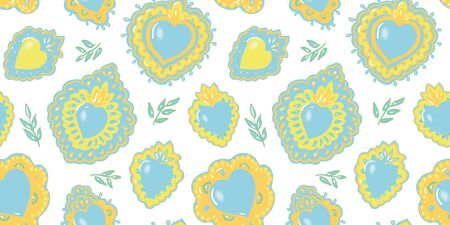 Seamless vector folk art burning heart pattern with hand drawn tin work heart in pastel tones. Elegant and festive design for valentine, wedding, mothers day and your personal sweetheart. Ilustração