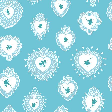 Delicate seamless vector folk art burning heart pattern with lace style burning heart in white line art. Elegant and festive design for valentine, wedding, mothers day and your personal sweetheart.