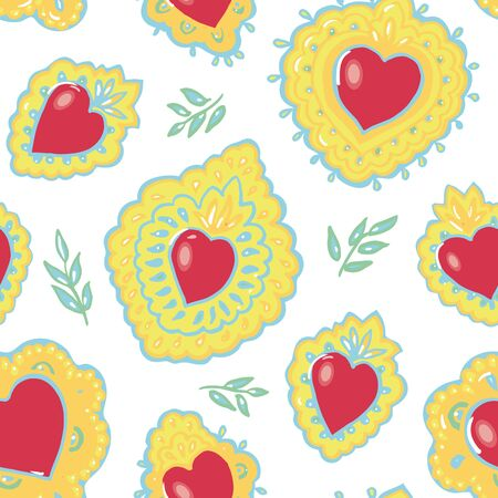 Seamless vector folk art burning red heart pattern with hand drawn tin work heart on pastel tones. Elegant and cheerful design for valentine, wedding, mothers day and your personal sweetheart. Ilustração
