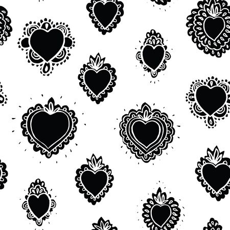 Seamless vector folk art grunge burning heart pattern with hand drawn tin work heart in black. Tatoo style bold design for valentine, wedding, mothers day and your personal sweetheart.