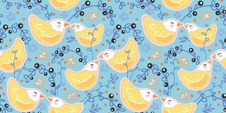 Seamless vector folk art style sugar bird pattern with cute bird couple in pastel tones. Funny and happy design for kids wear, nursery, home decor.