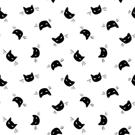 Seamless vector day of the dead black cat pattern with hand drawn spooky cat. Funny and happy design for your perfect party. Иллюстрация