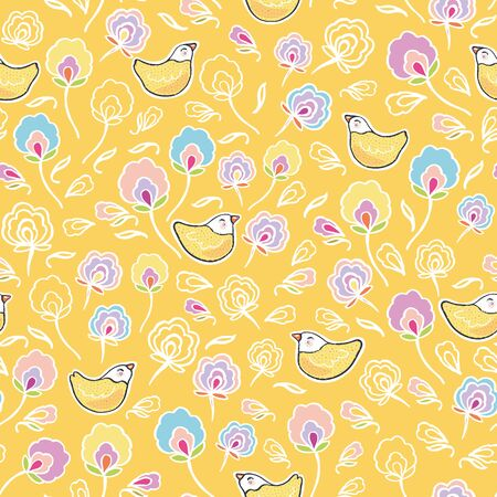 Seamless vector folk art floral sugar bird pattern with cute bird in pastel tones. Funny and happy design for kids wear, nursery, home decor.