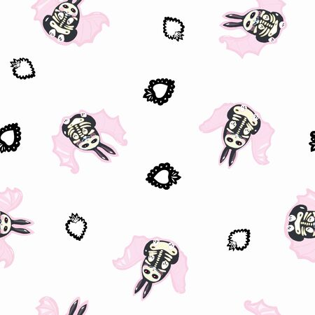 Seamless vector day of the dead kawaii pattern with hand drawn bat bunnywith burning heart. Funny and happy design for your perfect party.