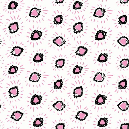 Seamless vector day of the dead folk art pattern with hand drawn burning heart and pink corona . Funny and happy design for your perfect party.
