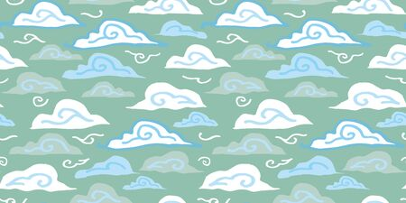 Grunge winter cloud pattern with hand drawn line doodle cloud in blue and icy tones on white background. Happy design for your perfect winter day and home decor. 일러스트