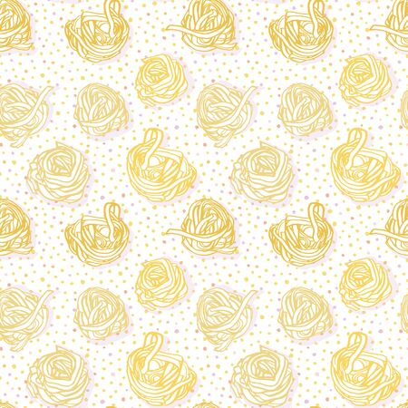 Elegant delicious hand drawn noodle pattern on spotted background in pastel tones on white background. Yummy design for restaurant, kitchen, menu card, cookery and food packaging.