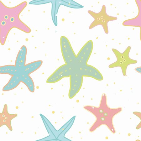 White vector repeat pattern with pastel starfish and dot. Summer beach pattern. Surface pattern design. Ilustrace