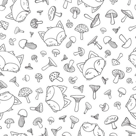 Cute fox seamless doodle pattern, wolf hand drawn forest background with mushroom and dot, vector illustration