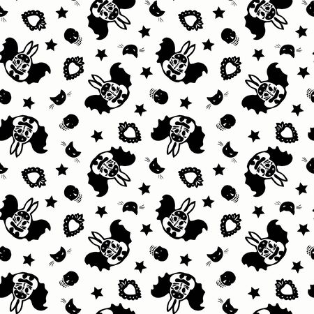 Seamless vector day of the dead folk art pattern with hand drawn bat bunny, shugar scull, cat head and star. Funny and happy design for your perfect party.