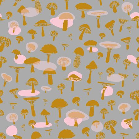 Seamless doodle pattern with forest mushrooms on a grey background. Beautiful autumn illustration in vector.