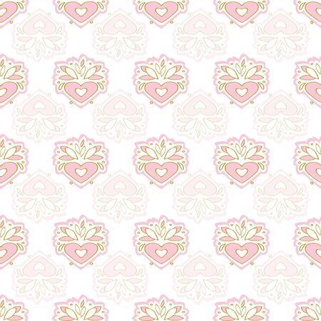 Cute pink kawaii heart seamless pattern, white spring background, perfect for mothers day, valentine, baby,vector illustration