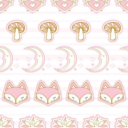 Cute winter fox seamless pattern, wolf hand drawn forest autumn background with moon, mushroom, folk art vector illustration