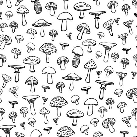 Seamless doodle pattern with forest mushrooms on white background. Beautiful autumn illustration in vector.