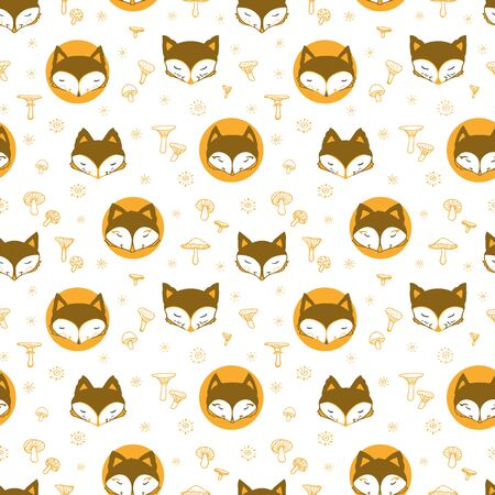 Cute fox seamless pattern, wolf hand drawn forest background with mushroom and stars, vector illustration