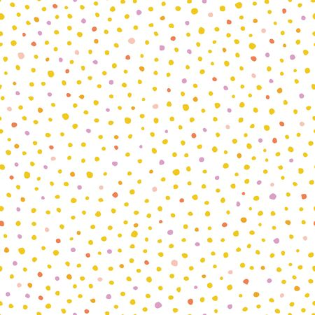 Seamless vector hand drawn dot pattern with hand painted irregular yellow and pink dot in wavy movement. Graphic and modern design for scrapbooking, stationary, fashion and packaging design. Vector Illustration
