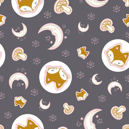Cute fox seamless pattern, wolf hand drawn forest autumn background with mushroom, folk art vector illustration