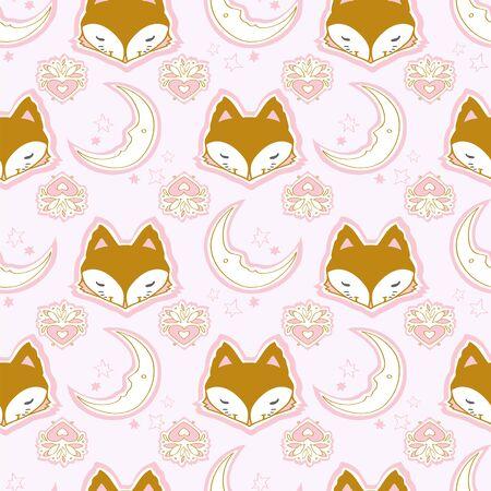 Cute winter fox seamless pattern, wolf hand drawn forest autumn background with stripe, mushroom, folk art vector illustration Stock Illustratie