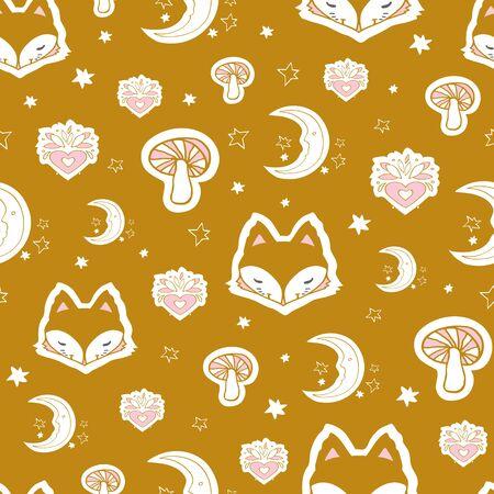 Cute fox seamless pattern, wolf hand drawn forest autumn background with mushroom, folk art vector illustration