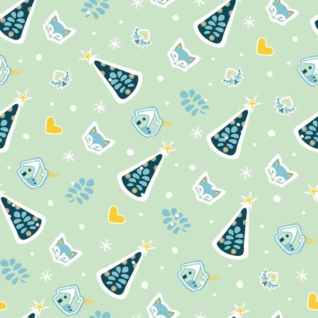 Cute fox, christmas tree, cottage, hand drawn backdrop. Colorful seamless pattern with animals. Cute wallpaper, for printing. Folk art background vector, illustration. Happy New Year. Winter time