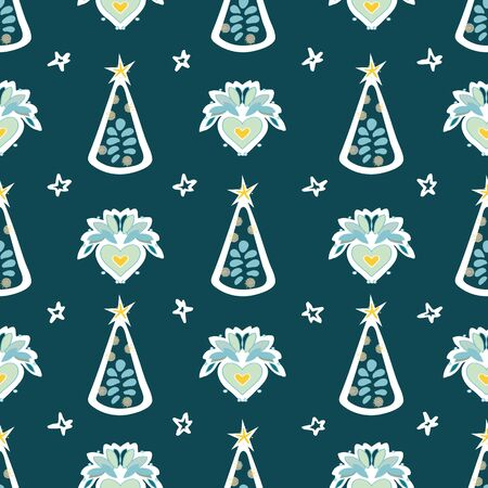 Christmas folk art heart christmas tree hand drawn seamless background. Petrol green repeat pattern with Christmas tree. Cute for printing. Vector background, illustration. Happy New Year. Winter time Ilustrace
