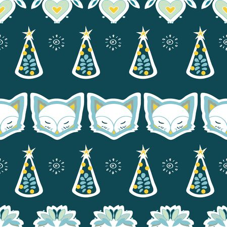 Cute fox, christmas tree, snow, star, hand drawn background. Pastel seamless border with animal. Cute wallpaper, for printing. Folk art background vector, illustration. Happy New Year. Winter time
