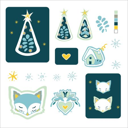 Set of cute Christmas design elements with woodland animals. Hand drawn background. Cute for printing. Folk art background vector, illustration. Happy New Year. Winter time