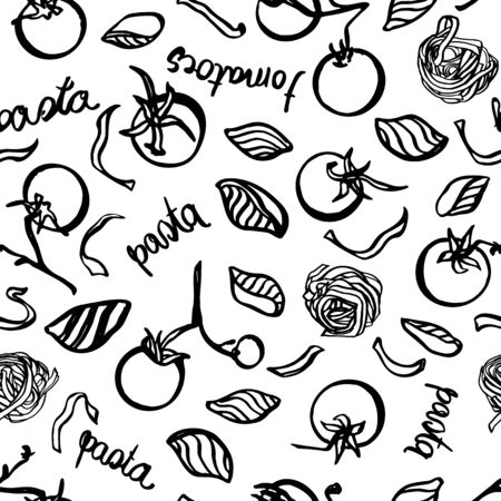 Vector homemade delicious hand drawn noodle pattern withtomatoe and typography. Yummy design for restaurant, kitchen, menu card, cookery and food packaging. Vetores