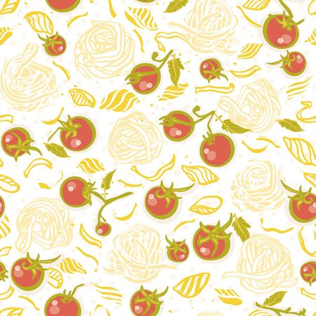 Vector homemade delicious hand drawn noodle pattern on spotted background in pastel tones with tomatoe. Yummy design for restaurant, kitchen, menu card, cookery and food packaging.