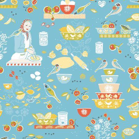 Retro cozy kitchen utensil pattern. Seamless vector background. Colorful vintage kitchen utensil folk art style on blue backgroud. Fabric, wallpaper, packaging, print. Hipster vintage kitchen pattern.