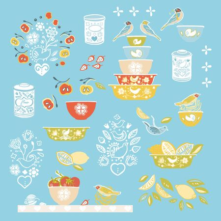 Retro happy kitchen folk art vector ilustration set. Icon set. Colorful vintage kitchen utensil folk art style on blue backgroud. Fabric, wallpaper, packaging, print. Hipster vintage kitchen design.