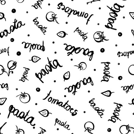 Modèle de pâtes typo tomate de vecteur. Délicieux motif de nouilles fait maison dessiné à la main avec tomate et typographie. Conception délicieuse pour le restaurant, la cuisine, la carte de menu, la cuisine et l'emballage alimentaire.