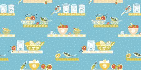 Retro cozy kitchen utensil border. Seamless vector background. Colorful vintage kitchen utensil folk art style on blue backgroud. Fabric, wallpaper, packaging, print. Hipster vintage kitchen pattern. Stock Illustratie