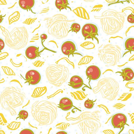 Vector tomato pasta noodle pattern. Homemade delicious hand drawn noodle pattern on spotted background in pastel tones with tomatoe. Yummy design for restaurant, kitchen, menu card, cookery and food packaging.