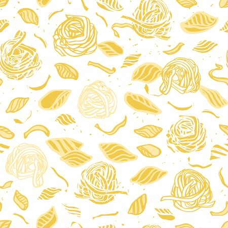 Vector pasta pattern. Homemade delicious noodle pattern on spotted background. Hand drawn in pastel tones on white background. Yummy design for restaurant, kitchen, menu card, cookery and food packaging.