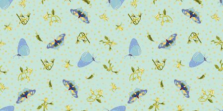 Vector realistic flora butterfly tomato garden repeat pattern with tomato blossom, branch, on pastel dot. Beautiful summer design for garden lovers. Wildlife background. Print, fabric and stationary.