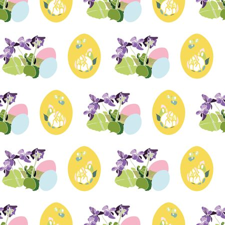 Vector realistic botany easter repeat pattern with viola, easter egg. Beautiful colorful design for your family event. Nature background. Print, fabric, stationary. 向量圖像