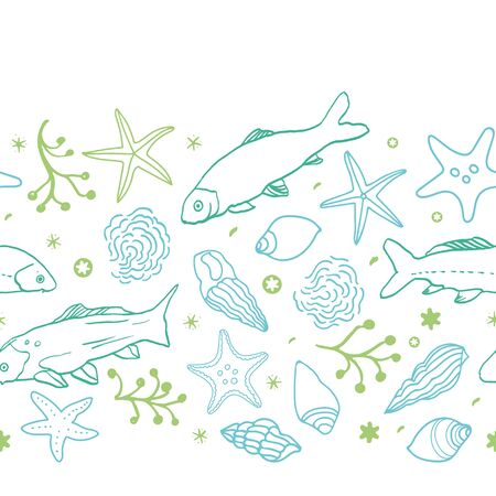 Sealife outline horizontal border with fish, starfish, seaweed and wave in blue and green tones. Summer beach pattern. Surface pattern design. Vecteurs