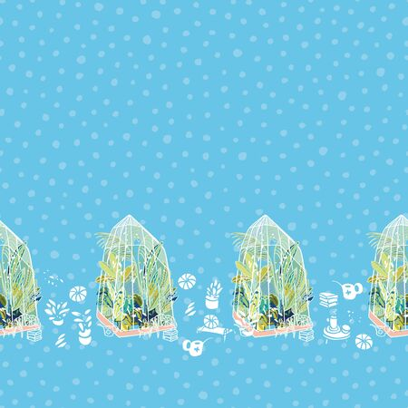 Vector hygge lifestyle exotic greenhouse boder with plants, glasshouse, garden utensil on blue dotted background. Happy cozy tropical plant design. Perfect for garden and plant lovers.