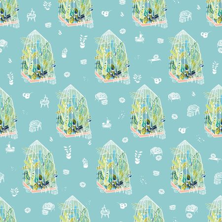 Vector hygge lifestyle exotic greenhouse halfdrop pattern with plants, glasshouse, garden utensil on blue background. Happy cozy tropical plant design. Perfect for garden and plant lovers.