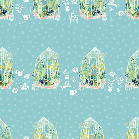 Vector hygge lifestyle exotic greenhouse border with plants, glasshouse, garden utensil on blue dotted background. Happy cozy tropical plant design. Perfect for garden and plant lovers. Vector Illustration