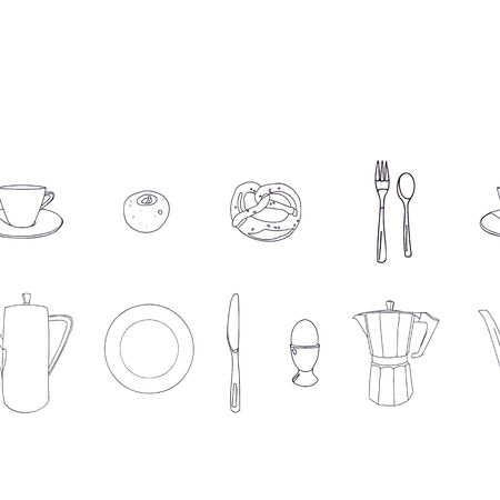 Vector line art breakfast border with porcelain, food and coffee pot. Breakfast, bar, hotel, restaurant, menue.
