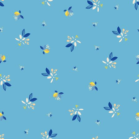 Vector blue ditsy floral summer lemon pattern. Hand drawn textured citrus fruit pattern with blossom and leaf on cyan background. Modern yummy backdrop.