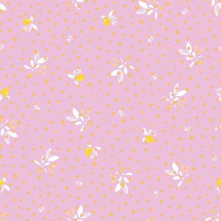 Ditsy floral vector pink summer lemon pattern. Hand drawn textured citrus fruit pattern with blossom and leaf on pink background. Vintage romantic backdrop. Vettoriali