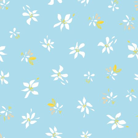 Vector ditsy floral summer blossom pattern. Hand drawn textured citrus fruit pattern with blossom and leaf on blue background. Modern flower backdrop.