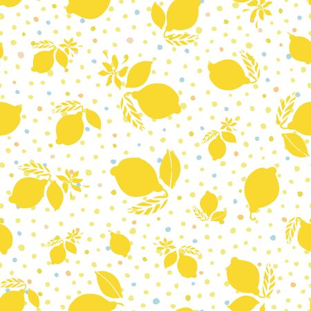 Vector graphic summer lemon citrus dot pattern. Geometric modern summer repeating design. Hand drawn bright citrus fruit pattern with leaf and blossom on dotted background. Classy simple summer backdrop.