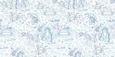 Wellbeing meditation buddha pattern. Lifestyle. Exotic jungle lagoon landscape seamless modern design. Botanical leaf and buddha statue in delft blue tones. Hand drawn line art design. Packaging, home decor, stationery.  イラスト・ベクター素材